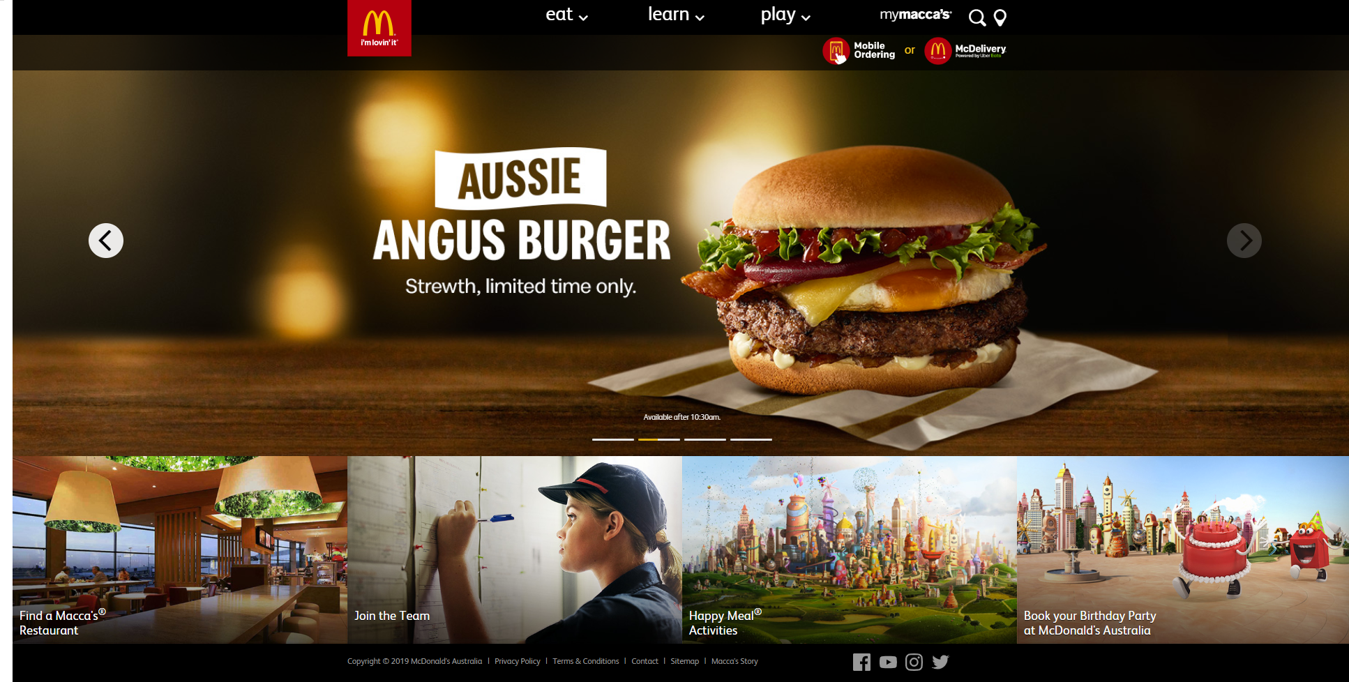 Mcdonalds australia website design
