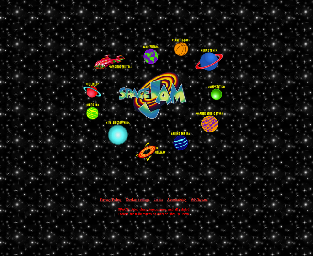 Space Jam 90's era website